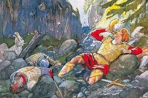 778 : Roland sonnant du cor, à la bataille de Roncevaux, où les Sarrasins ont battu l'armée franque. A son côté, son épée Durandal. L'épisode a peu à voir avec la réalité historique, mais il a nourri l'imaginaire français. (Rossignol/Editions Hoebeke)