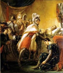 Rouget - Mort de saint Louis devant Tunis au milieu des princes français et des envoyés de l'empereur de Constantinople Baudoin II le 25 aout 1270