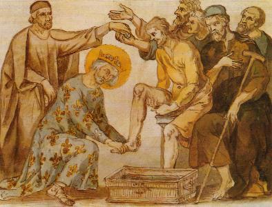 ŒUVRES CHRÉTIENNES DES FAMILLES ROYALES DE FRANCE - (Images et Musique)- année 1870  Saint-Louis-lavant-les-pieds-des-pauvres