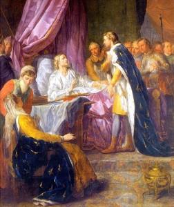 Saint Louis, roi de France, sur son lit de mort, donnant ses derniers conseils a son fils Philippe, par Jacques Antoine Beaufort