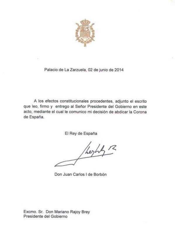 Lettre d'abdication du Roi Juan Carlos Ier d'Espagne