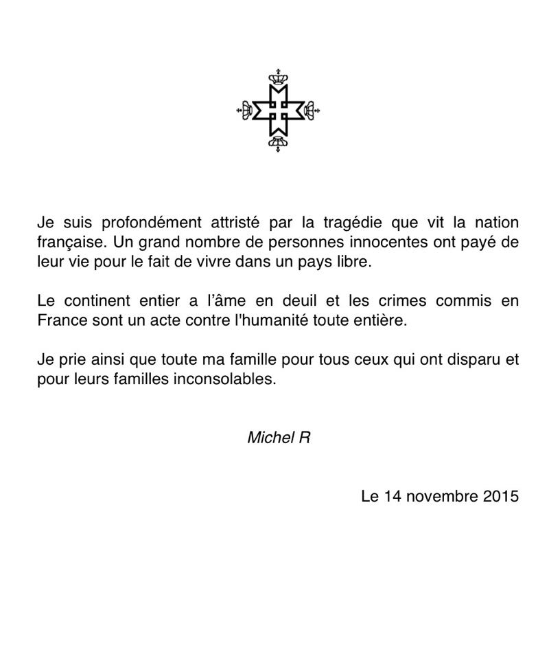 Message Roi Michel de Roumanie 14nov2015